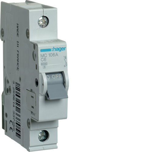 Автоматичний вимикач 1P 6kA C-6A 1M