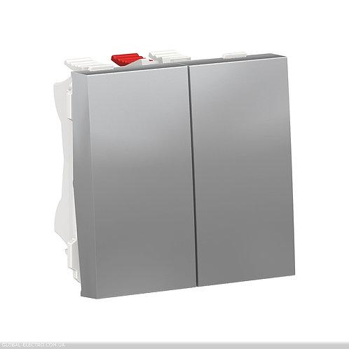 NU321330 Перемикач 2-клавішний 2 x схема 6, 10А 2 модуля алюміній