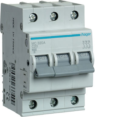 Автоматичний вимикач 3P 6kA C-20A 3M