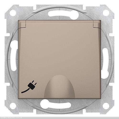SDN3100168 Розетка с заземлением, со шторками И КРЫШКОЙ SEDNA ТИТАН