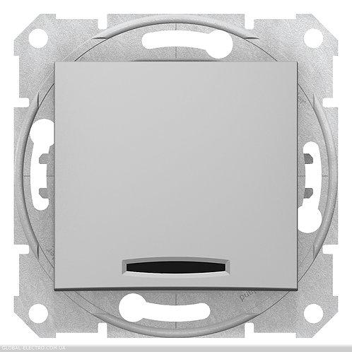 SDN0501160 ПЕРЕКРЕСТНЫЙ Выключатель с подсветкой SEDNA АЛЮМИНИЙ