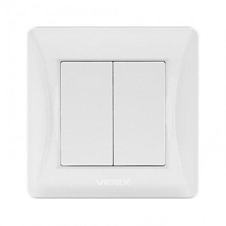 VIDEX BINERA Выключатель 2кл белый (VF-BNSW2-W) (20/120)