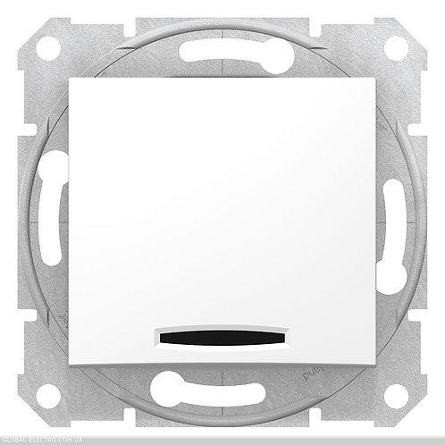 SDN0201121 2-х полюсный Одноклавишный ВЫКЛЮЧАТЕЛЬ с индикацией SEDNA БЕЛЫЙ