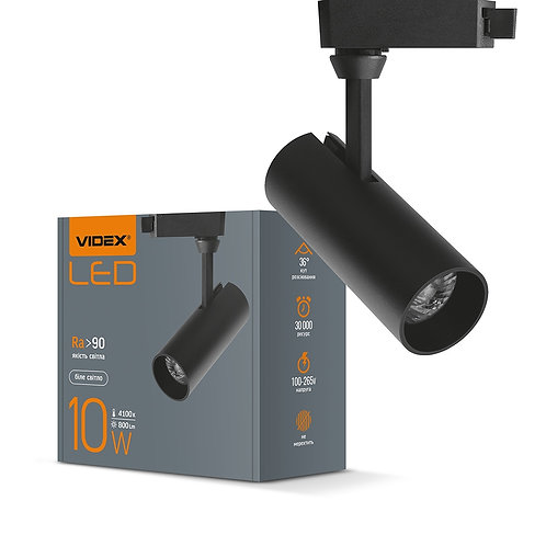 LED светильник трековый VIDEX 10W 4100K 220V черный 20шт/ящ VL-TR04-104B