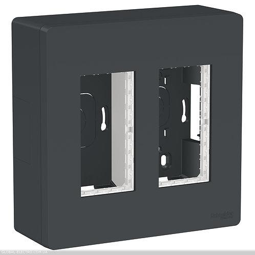 NU122454 Блок unica system+ відкрита вставка 2х2 антрацит