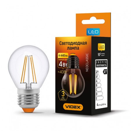 LED лампа VIDEX Filament G45F 4W E27 3000K 220V VL-G45F-04273