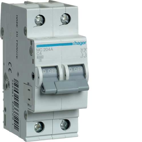 Автоматичний вимикач 2P 6kA C-4A 2M