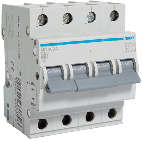 Автоматичний вимикач 4P 6kA C-63A 4M