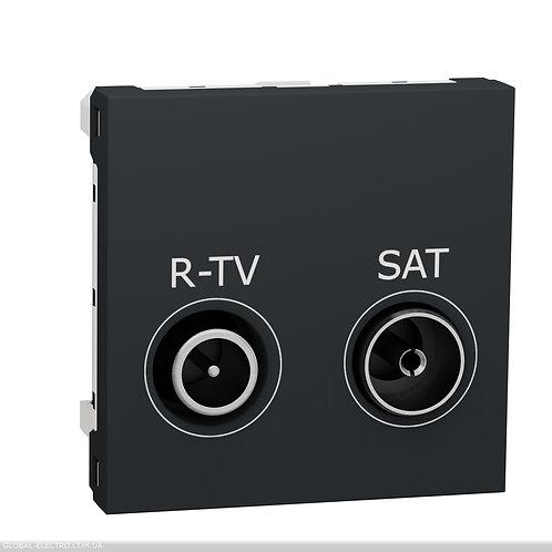 NU345554 Розетка R-TV SAT кінцева, 2 модуля антрацит