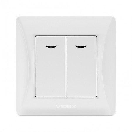 VIDEX BINERA Выключатель 2кл с подсветкой белый (VF-BNSW2L-W) (20/120)