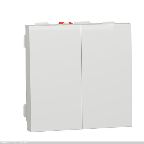 NU321118 Вимикач 2-клавішний схема 5, 10А, 2 модуля білий