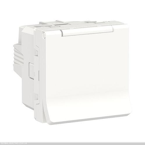 NU303718TA Розетка з з/к, зі шторками з кришкою, 16А, гвинтові зажими білий