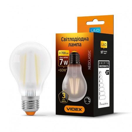 LED лампа VIDEX Filament A60FMD 7W E27 4100K 220V диммерная VL-A60FMD-07274