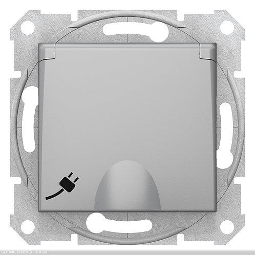 SDN3100160 Розетка с заземлением, со шторками И КРЫШКОЙ SEDNA АЛЮМИНИЙ