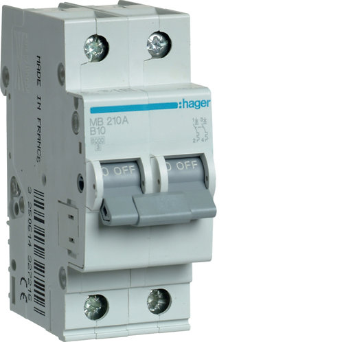 Автоматичний вимикач 2P 6kA B-10A 2M