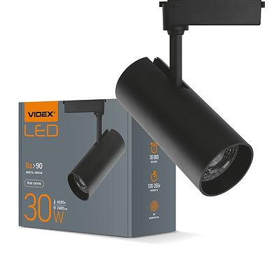 LED светильник трековый VIDEX 30W 4100K 220V черный 20шт/ящ VL-TR04-304B