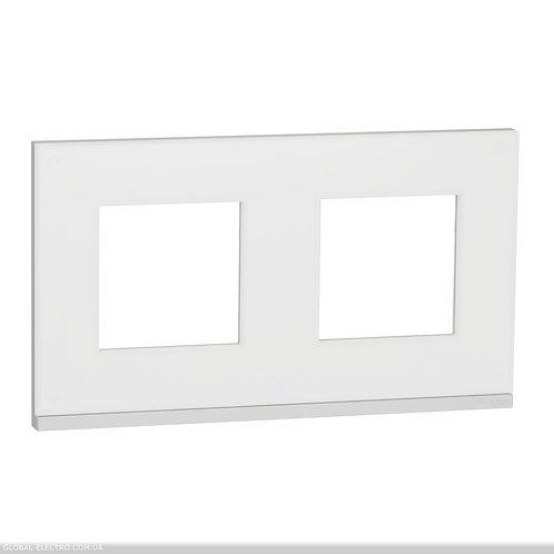 NU600489 Рамка 2-постова, горизонтальна, Матове скло/білий