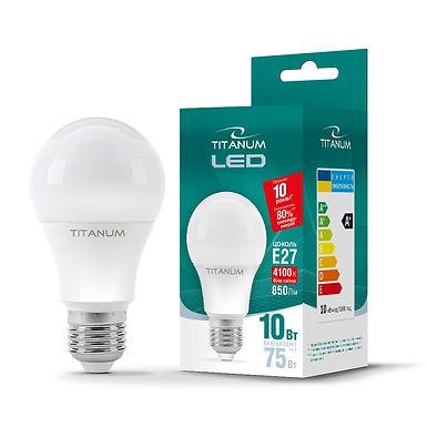LED лампа TITANUM A60 10W E27 4100K 220V 50шт/ящ TLA6010274