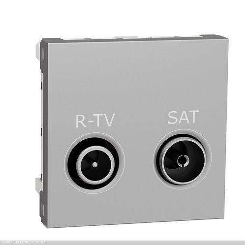 NU345530 Розетка R-TV SAT кінцева, 2 модуля алюміній