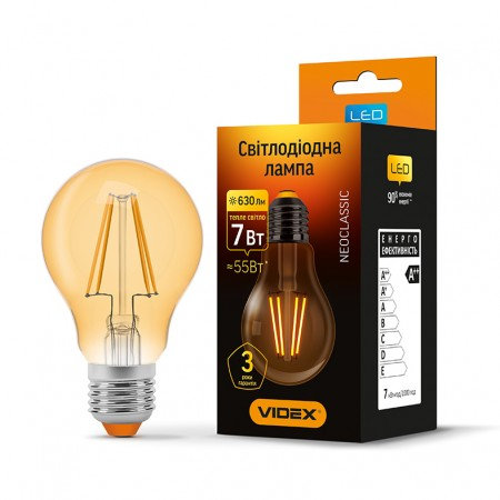 LED лампа VIDEX Filament A60FA 7W E27 2200K 220V VL-A60FA-07272