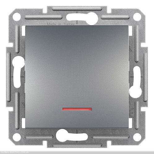 EPH1600162 Кнопочный выключатель, с подсветкой, самозажимные, ASFORA СТАЛЬ