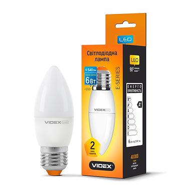 LED лампа VIDEX  C37e 6W E27 3000K 220V