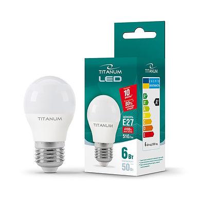 LED лампа TITANUM G45 6W E27 4100K 220V 50шт/ящ TLG4506274
