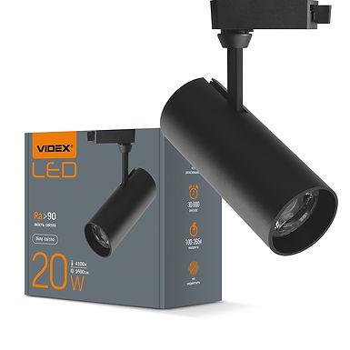LED светильник трековый VIDEX 20W 4100K 220V черный 20шт/ящ VL-TR04-204B