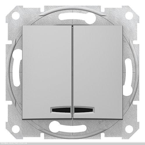 SDN0300360 Двухклавишный Выключатель с подсветкой SEDNA АЛЮМИНИЙ