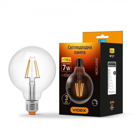 LED лампа VIDEX Filament G95FD 7W E27 4100K 220V диммерная VL-G95FD-07274