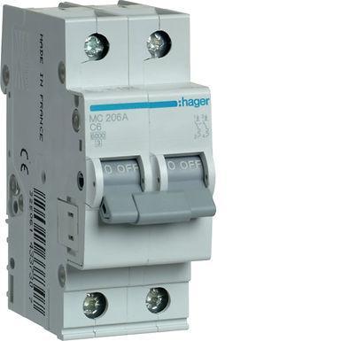 Автоматичний вимикач 2P 6kA C-6A 2M