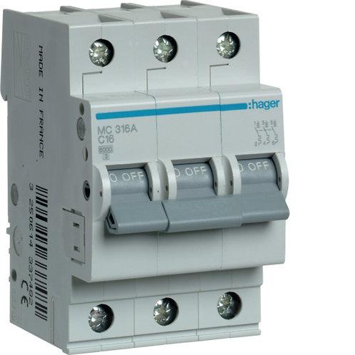Автоматичний вимикач 3P 6kA C-16A 3M