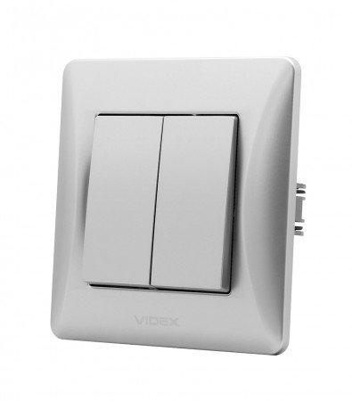 VIDEX BINERA Выключатель 2кл  серебряный шёлк (VF-BNSW2-SS) (20/120)