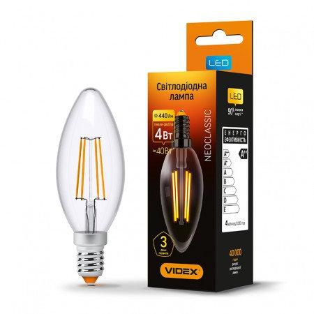LED лампа VIDEX Filament C37F 4W E14 3000K 220V VL-C37F-04143
