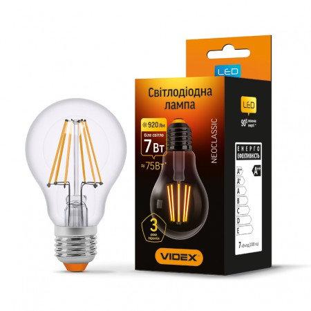 LED лампа VIDEX Filament A60F 7W E27 4100K 220V VL-A60F-07274