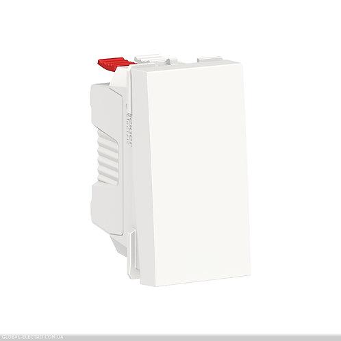 NU310618 Вимикач 1-клавішний кнопковий схема 1, 10А, 1 модуль білий