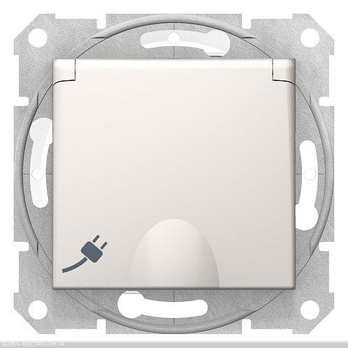 SDN3100523 РОЗЕТКА С самозаж клеммами с З\К И КРЫШКОЙ SEDNA IP44 слоновая кость