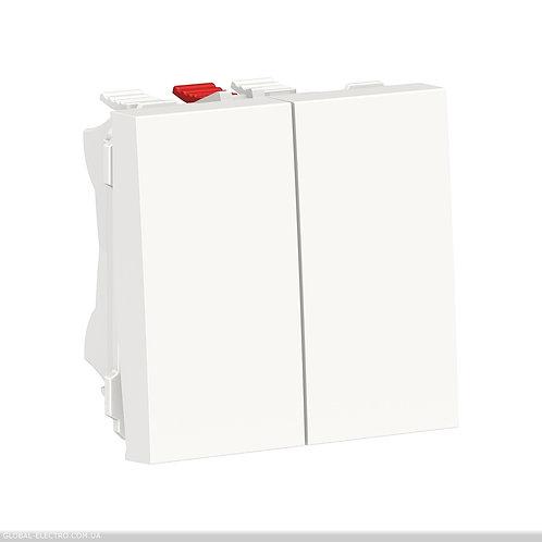 NU321318 Перемикач 2-клавішний 2 x схема 6, 10А, 2 модуля білий