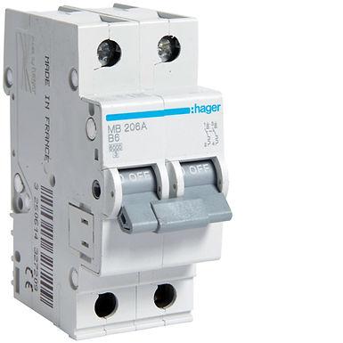 Автоматичний вимикач 2P 6kA B-6A 2M