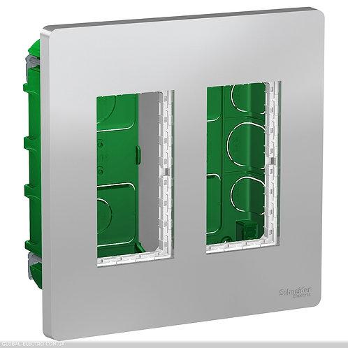 NU172430 Блок unica system+ прихована вставка 2х2 алюміній