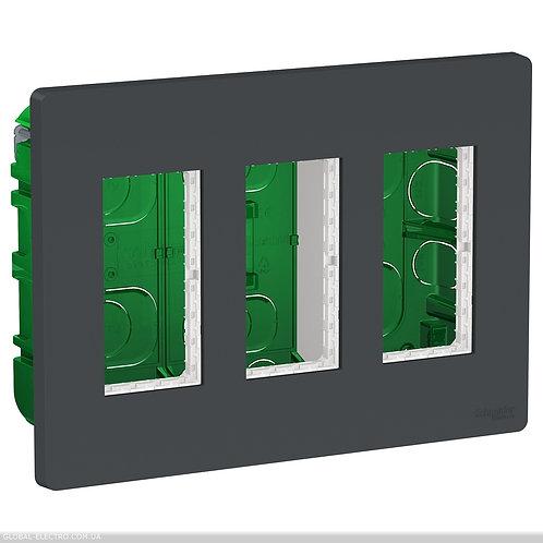 NU173454 Блок unica system+ прихована вставка 3х2 антрацит