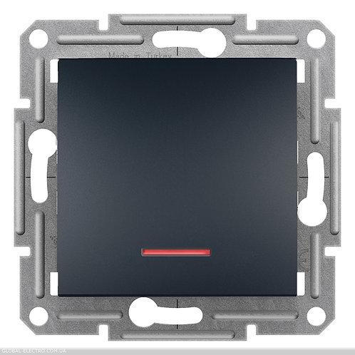 EPH1600171 Кнопочный выключатель, с подсветкой, самозажимные, ASFORA АНТРАЦИТ