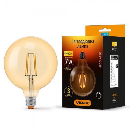 LED лампа VIDEX Filament G125FAD 7W E27 2200K 220V диммерная VL-G125FAD-07272