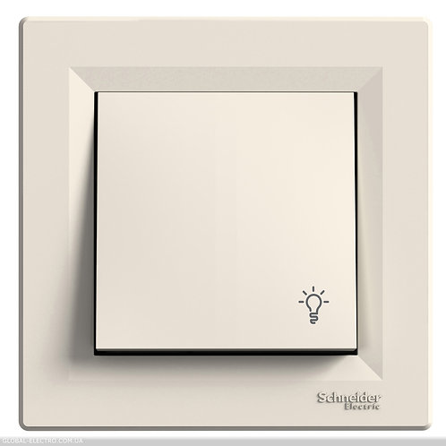 """EPH0900123 Кнопочный выключатель с символом """"СВЕТ"""", самозажимные, КРЕМ ASFORA"""