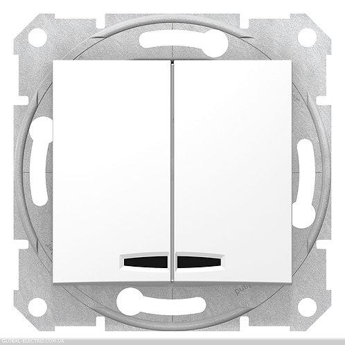 SDN0300321 Двухклавишный Выключатель с подсветкой SEDNA БЕЛЫЙ