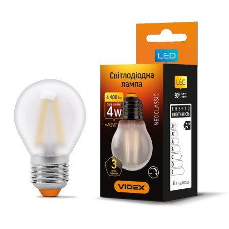 LED лампа VIDEX Filament G45FMD 4W E27 4100K 220V диммерная VL-G45FMD-04274