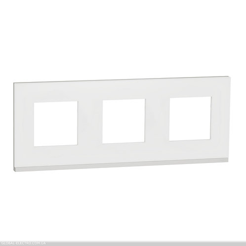 NU600689 Рамка 3-постова, горизонтальна, Матове скло/білий