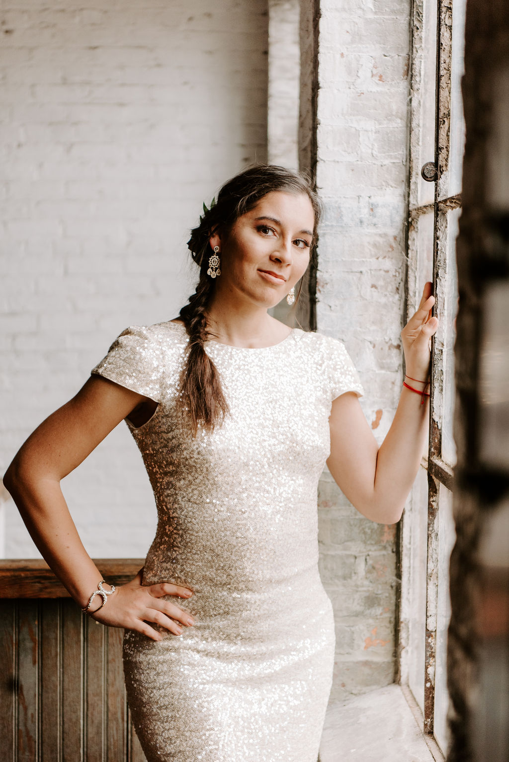 Bride in a gold dress at Art Factory