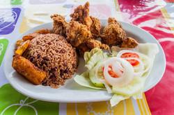 Fried chicken in a guatemalan restaurant