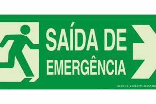 PLACA SINALETICA SAIDA DE EMERGENCIA 200X100MM